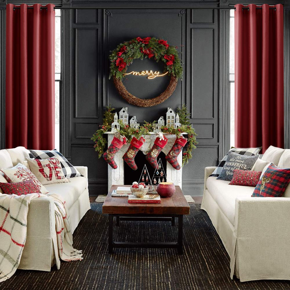 Amazon.com: Faux Silk Curtains Red Living Room 84 inches Long Satin ...