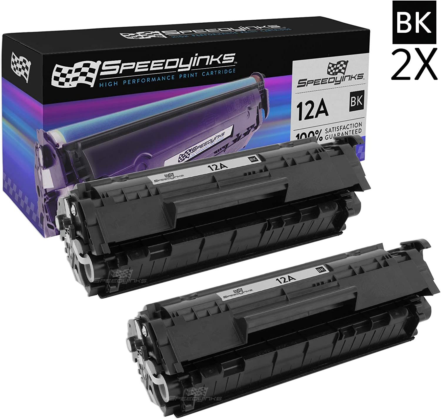 Speedy Inks Compatible Toner Cartridge Replacement for HP 12A Q2612A (Black, 2-Pack)