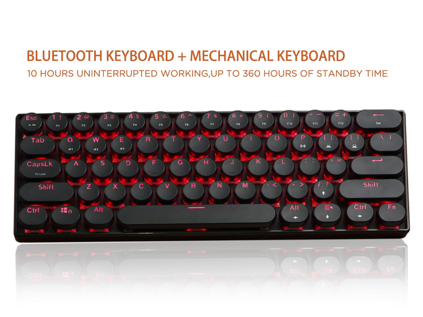Bluetooth Mechanical Keyboard, LinDon-Tech Mechanical Keyboard, Bluetooth/Wired Dual Mode, Brown Switches with Red Backlit, 61 Keys for iPad Pro iPad Air Samsung Tablet pc Laptop - Black