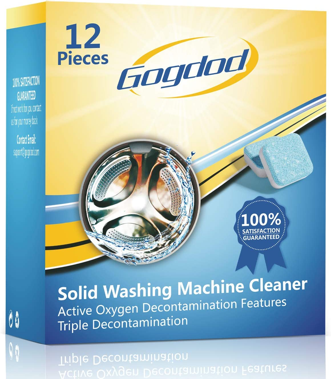 Gogdod Washing Machine Cleaner Effervescent Tablets, Solid Washer Deep Cleaning Tablet, Triple Decontamination Remover for Front and Top Load Washers, 12Pcs