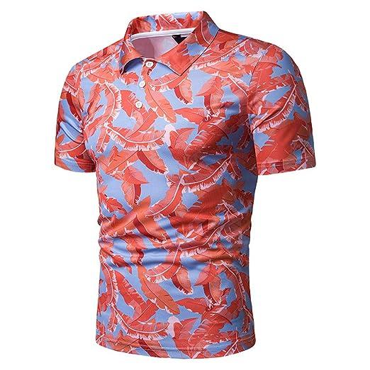 b65d25f2 Amazon.com: Men Shirt,OWMEOT Mens Summer Short Sleeve Slim Fit Contrast  Color Stitching Stripe Polo Casual T-Shirts: Clothing