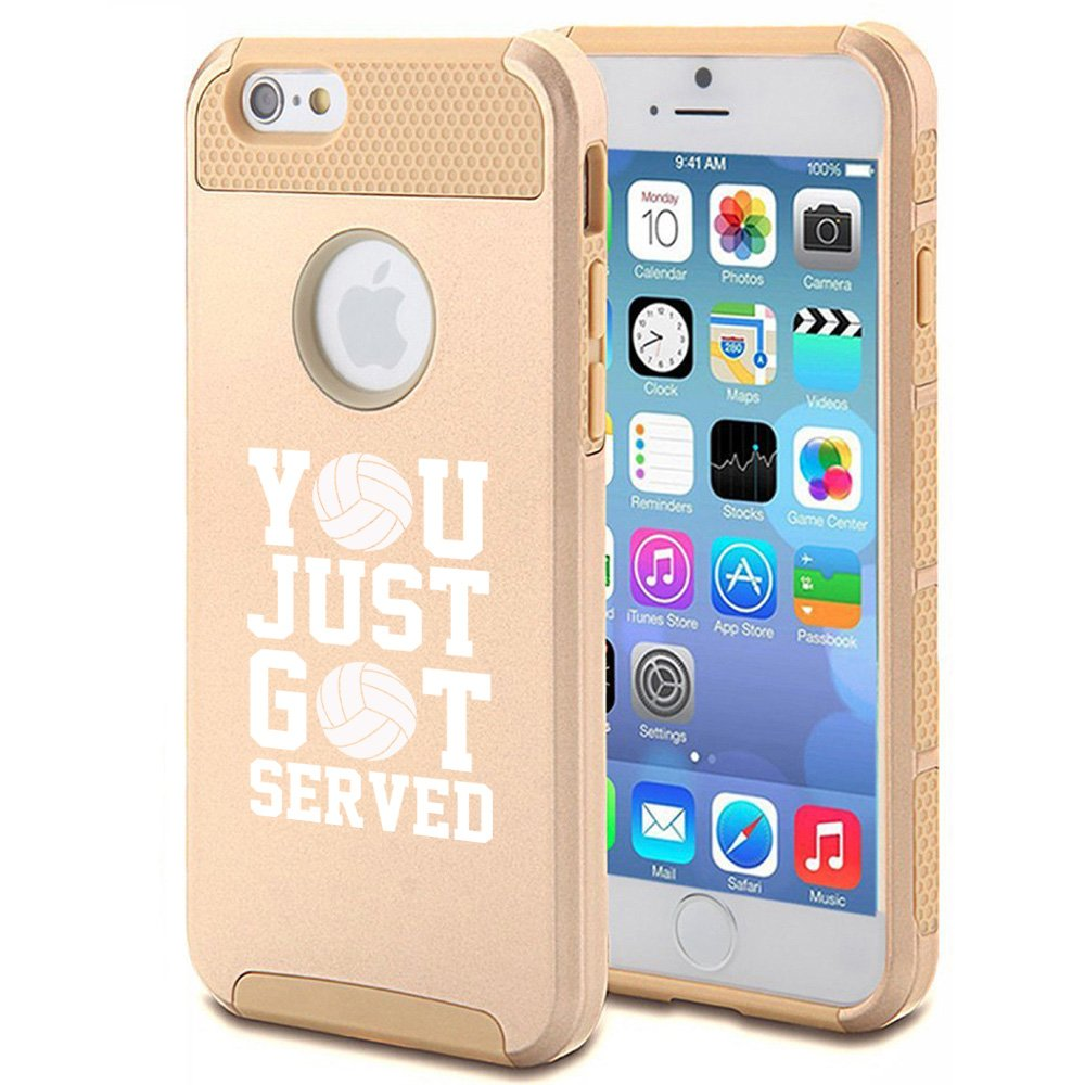 For Apple iPhone 6 6s Shockproof Impact Hard Case Cover You Just Got Served Volleyball (Gold)