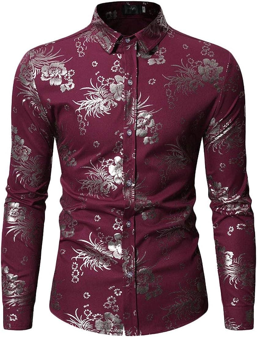 Jotebriyo Men Plus Size Long Sleeve Floral Print Gilding Slim Fit Button Down Dress Shirt