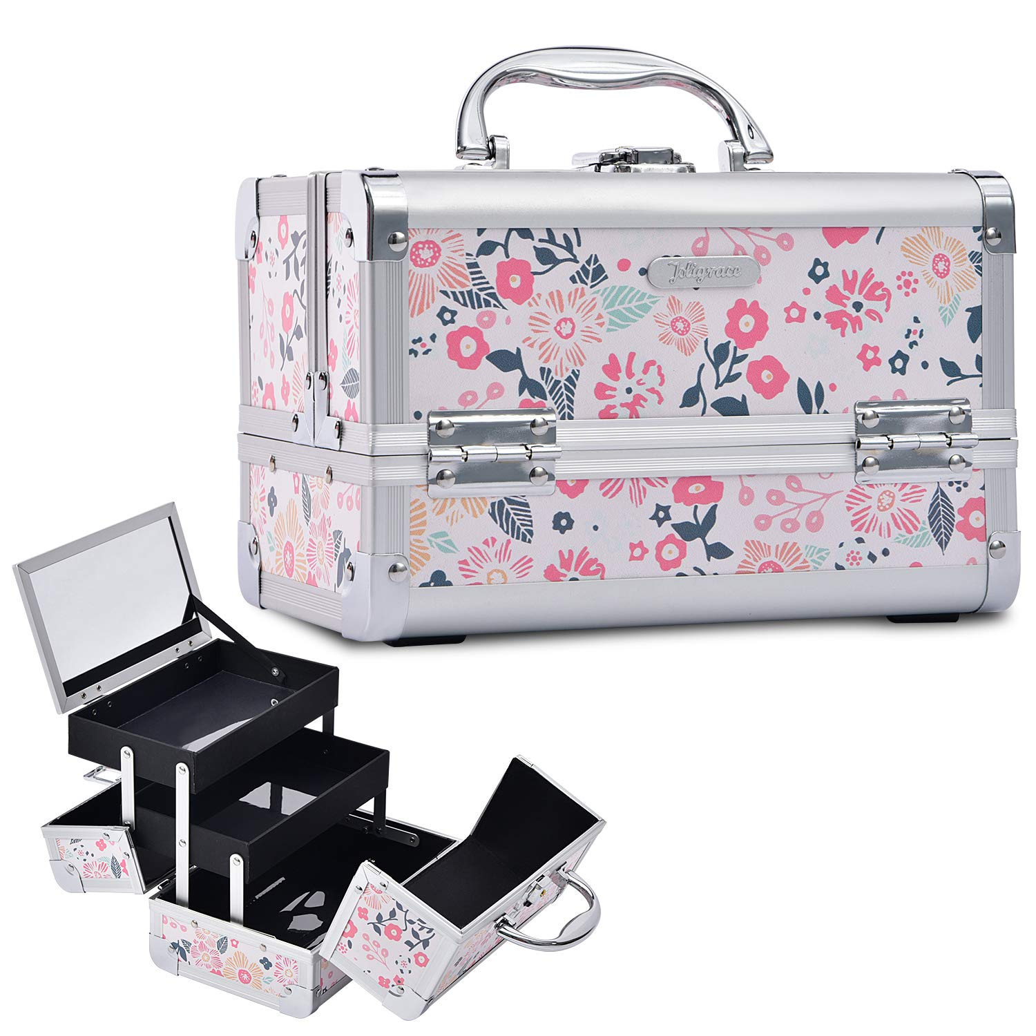 Joligrace Makeup Box Cosmetic Train Case Jewelry Organizer Lockable with Keys and Mirror 2-Tier Tray Portable Carrying Travel Storage Box for Girl - White Floral