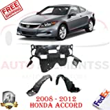 Autoelementss New Front Fender Liner with Insulation Foam Right + Left Hand Side for 2008-12 Honda Accord EX-L/HFP/LX-P/SE Sedan Direct Replacement Engine Splash Shield
