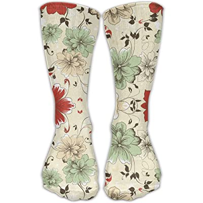 Crew Socks Ankle Support 30CM Low Cut Socks Full Blossoms Print Ankle Compression Socks Foot Sleeve Unisex