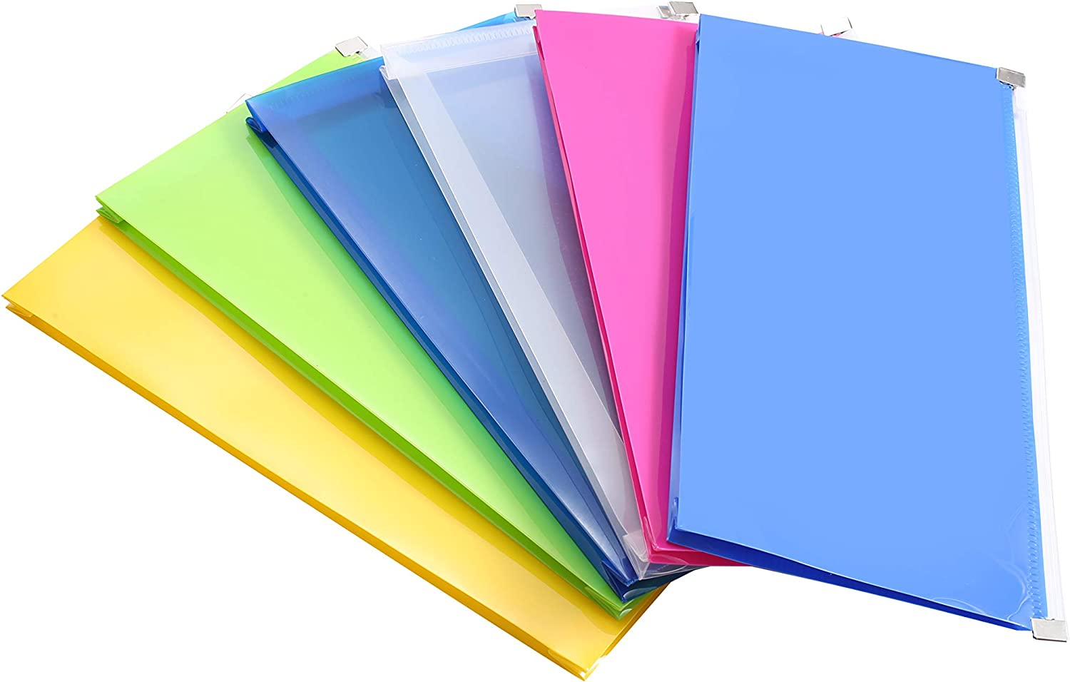 "Purida Poly Zipper Envelope, 5 x 10"" Plastic Envelopes with 1 1/5"" Expansion for Home Office School Organization in 6 Assorted Colors, 6 Pack"