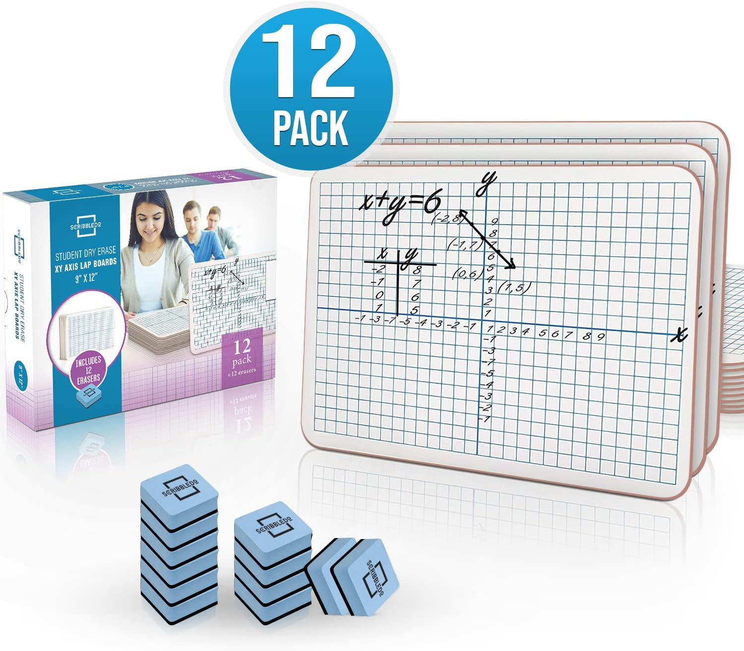 "Dry Erase XY Axis Graph Lap Boards 9""X12"" for Student and Classroom Use, Math whiteboards (Double Sided White Boards) Erasers Included (12 Pack Graph) : Office Products"