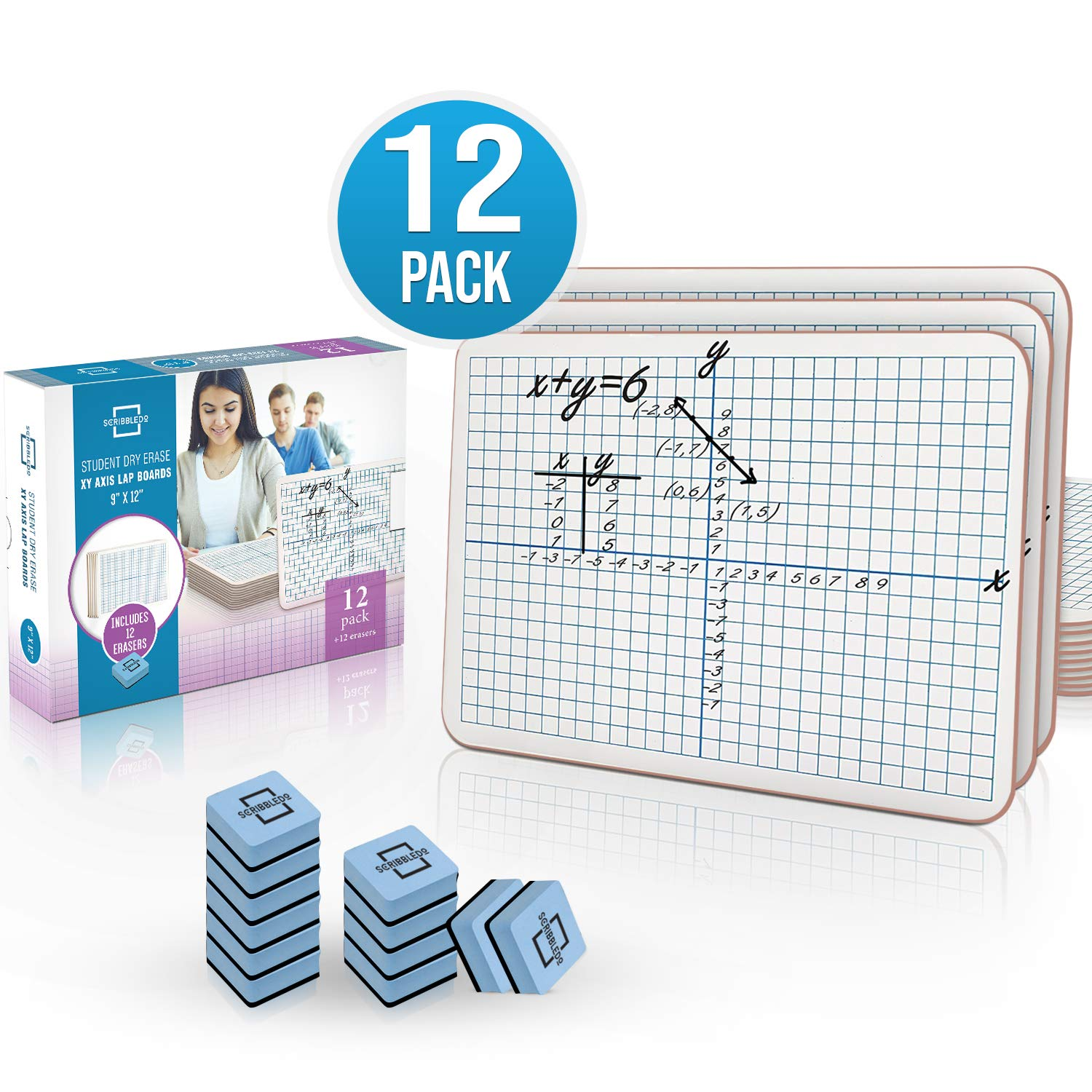 12 Pack Dry Erase XY Axis Graph Lap Board 9''X12'' | Interactive Learning Coordinate Grid Whiteboard | for Student and Classroom Use, Math Board (Double Sided White Boards) Erasers Included