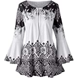 ❤️ Xinantime Plus Size Women Blouse, Newest Ladies Keyhole T-Shirts Printed Flare Sleeve Tops Chiffon Tops Dress Cheap Women Clothes Sale Clearance, Size S - 5XL