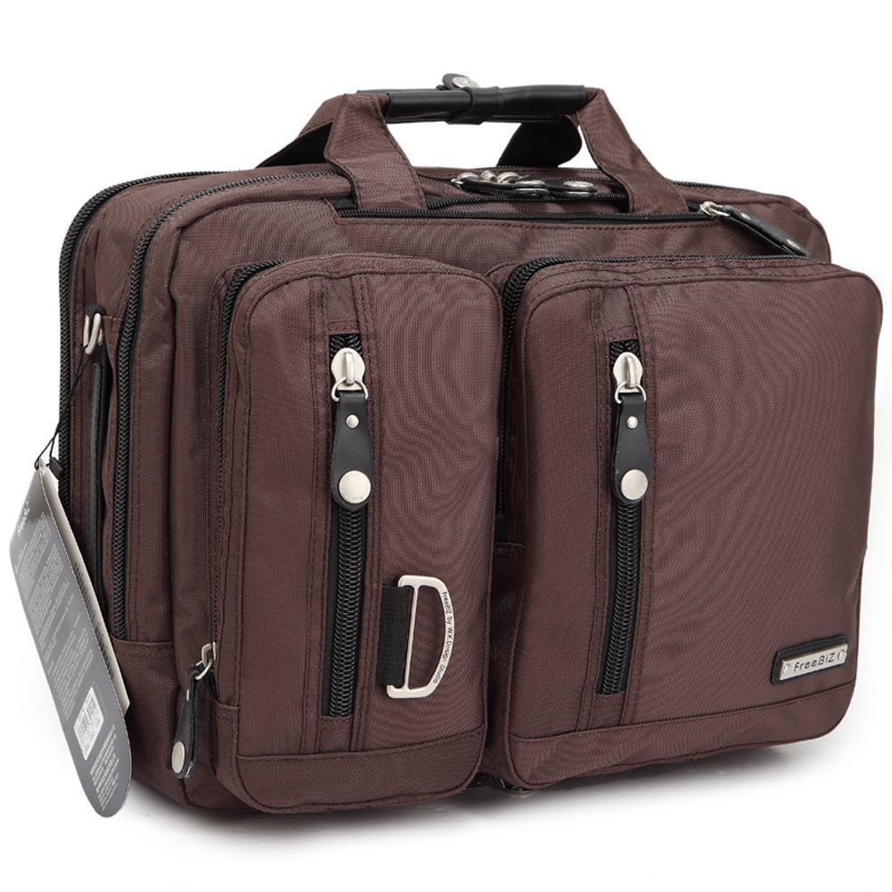 FreeBiz Sac à Dos Double Epaule Sacoche Sac Messager Sac Porte-Documents Multifonction 3& 1 Ordinateur Portable Laptop 17.3 pouces en Nylon (Noir) Laptop-Tasche-1