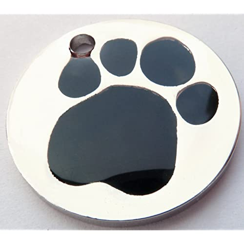 BEAUTIFUL Engraved 25mm POLISHED BLACK and steel PAW Pet ID Tag - ENGRAVED & POSTED FREE by M&K Supplies. Cat Dog Print Shape Design Identity Gift