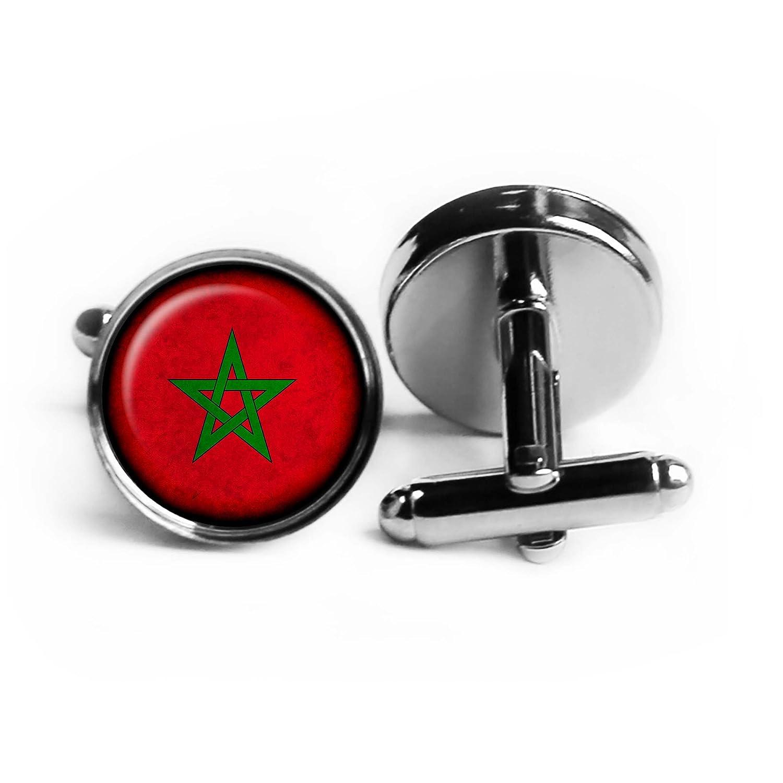 Morocco Moroccan Flag Rhodium Plated Silver Cufflinks