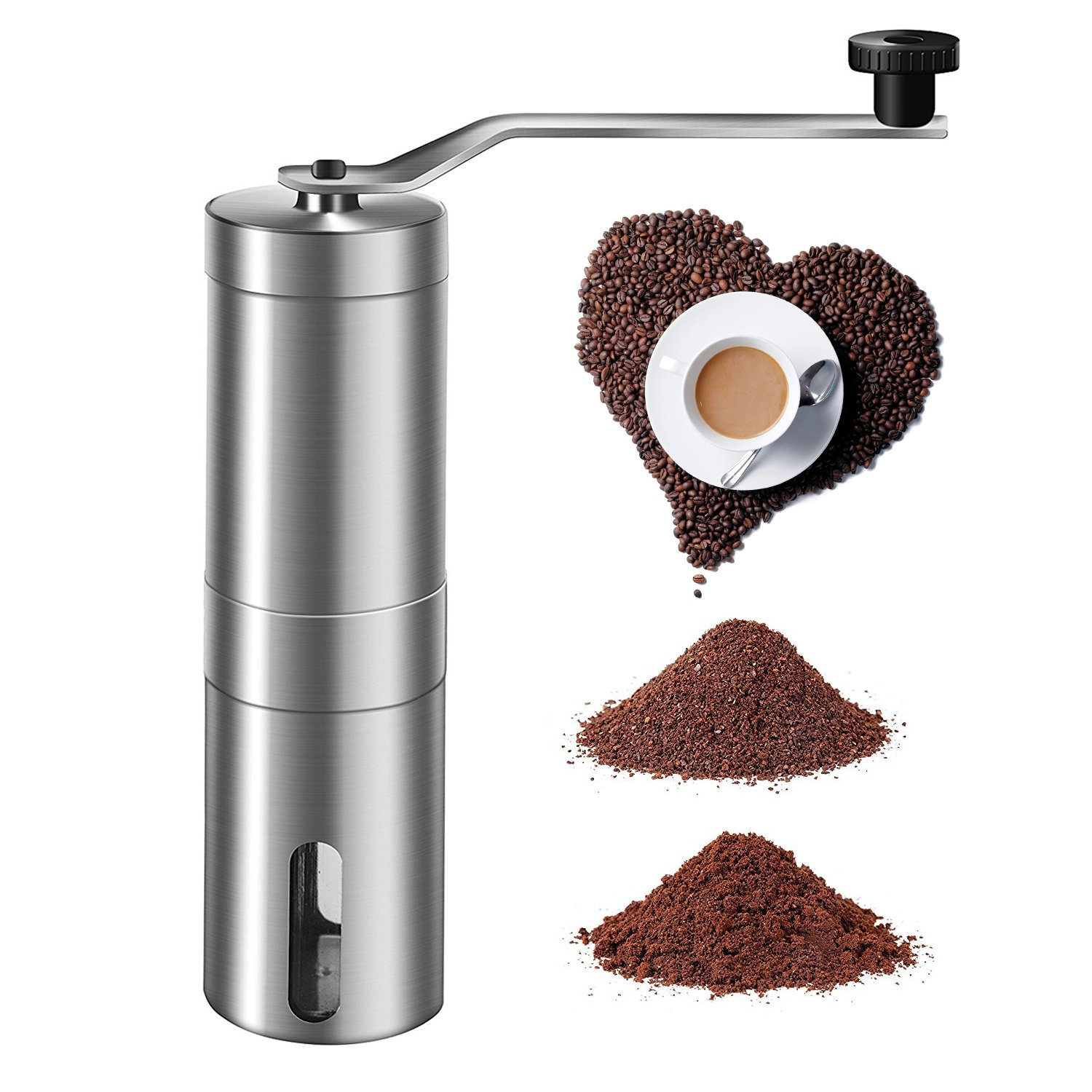 Top Rated Manual Coffee Grinder Maker Best Spice & Coffee Bean Grinder Stainless Steel Blades Adjustable Portable B-sea