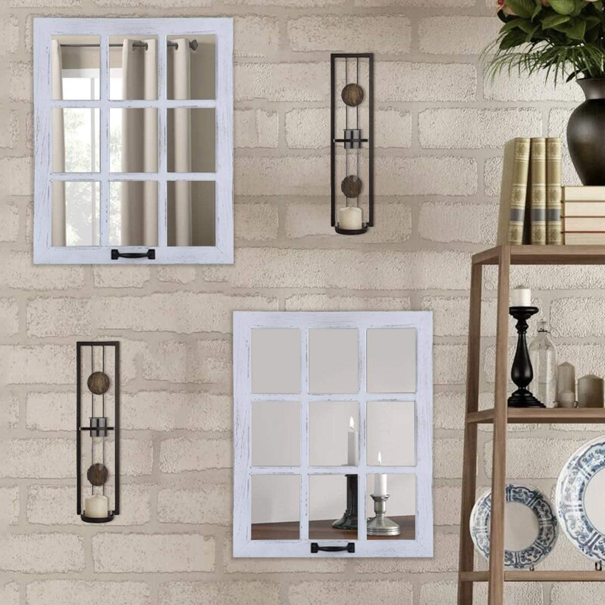 LOSOUR Decorative Mirror-Distressed Wood Windowpane Mirror- Rustic Home Decoration Window Frame Wall Mirror with Hanging Hardware for Farmhouse Bedroom Living Room Bathroom Kitchen (2, 18Wx23L)