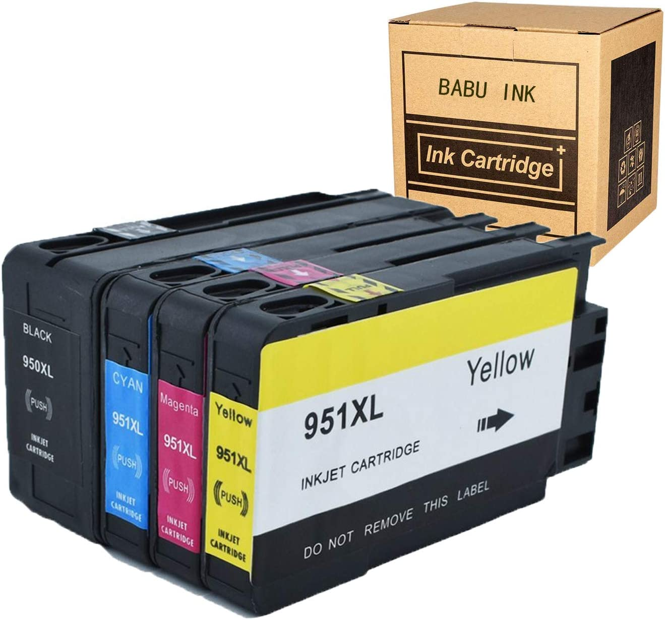 BABU 4pack Compatible Ink Cartridges Replacement for HP 950 951XL Work for HP Officejet PRO 8600 8610 8620 8630 8100 8640 8660 8615 8625 251dw 276dw Printer (1 Black,1 Cyan,1 Magenta,1 Yellow)