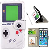 iPhone SE Case, UrSpeedtekLive iPhone 5s Wallet Case, Premium PU Leather Funny Case Flip Cover with Card Slots & Stand For iPhone SE (2016), iPhone 5/5S, Game boy Pattern