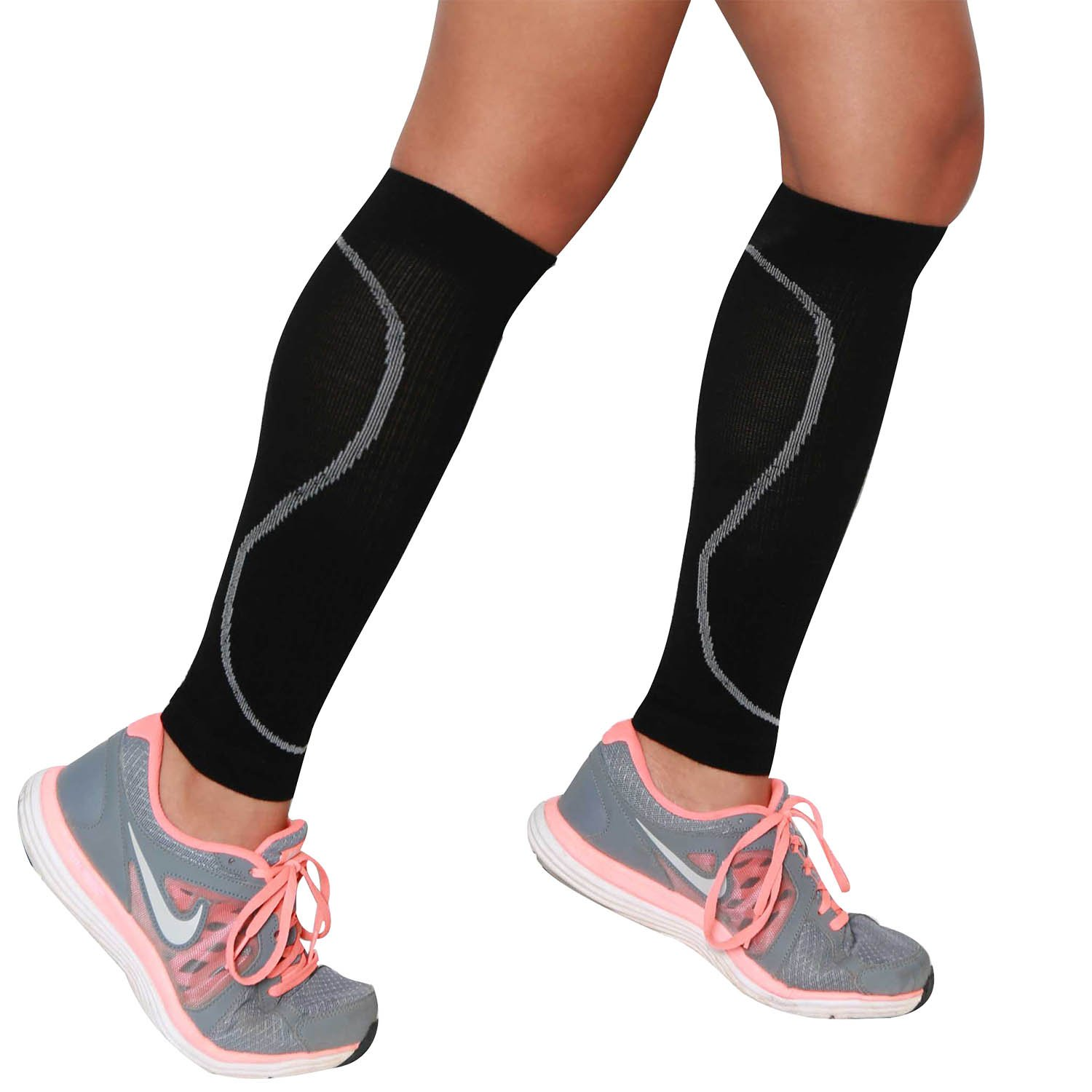 Compression Leg Sleeves - Leg Sleeves for Runners - Perfect for Jogging, Walking, Basketball, Traveling, and Everyday Wear - Made with Non-Itch Merino Wool