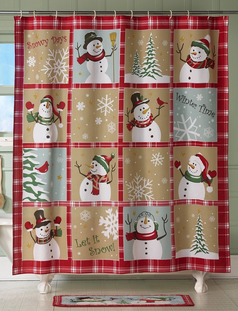 Amazon.com: Snow Time Country Snowman Shower Curtain: Home & Kitchen