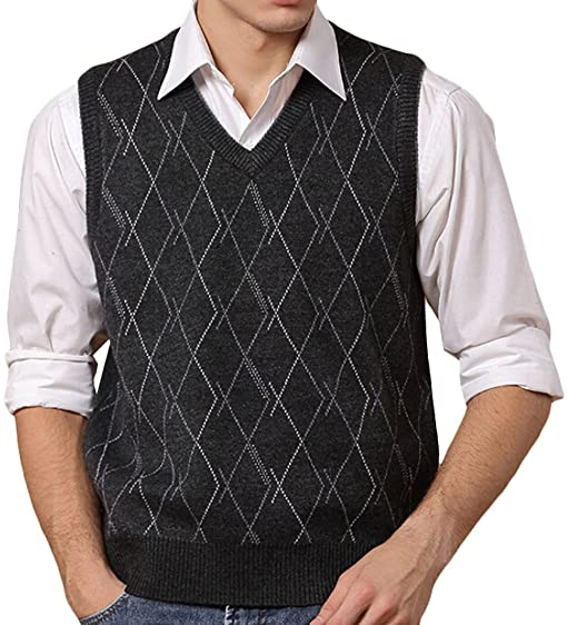 Acquaa Men Autumn V-neck Sleeveless Sweater Vest Diamond at Amazon ...