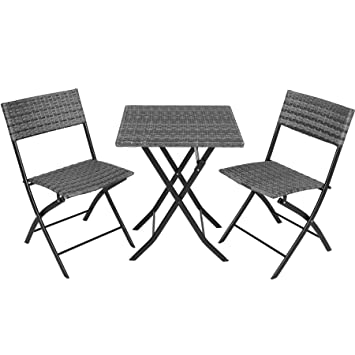TecTake 800700 Salon de Jardin résine tressée 2 Personnes, 2 Chaises et 1  Table Pliantes - Plusieurs Coloris - (Gris | no. 403197)