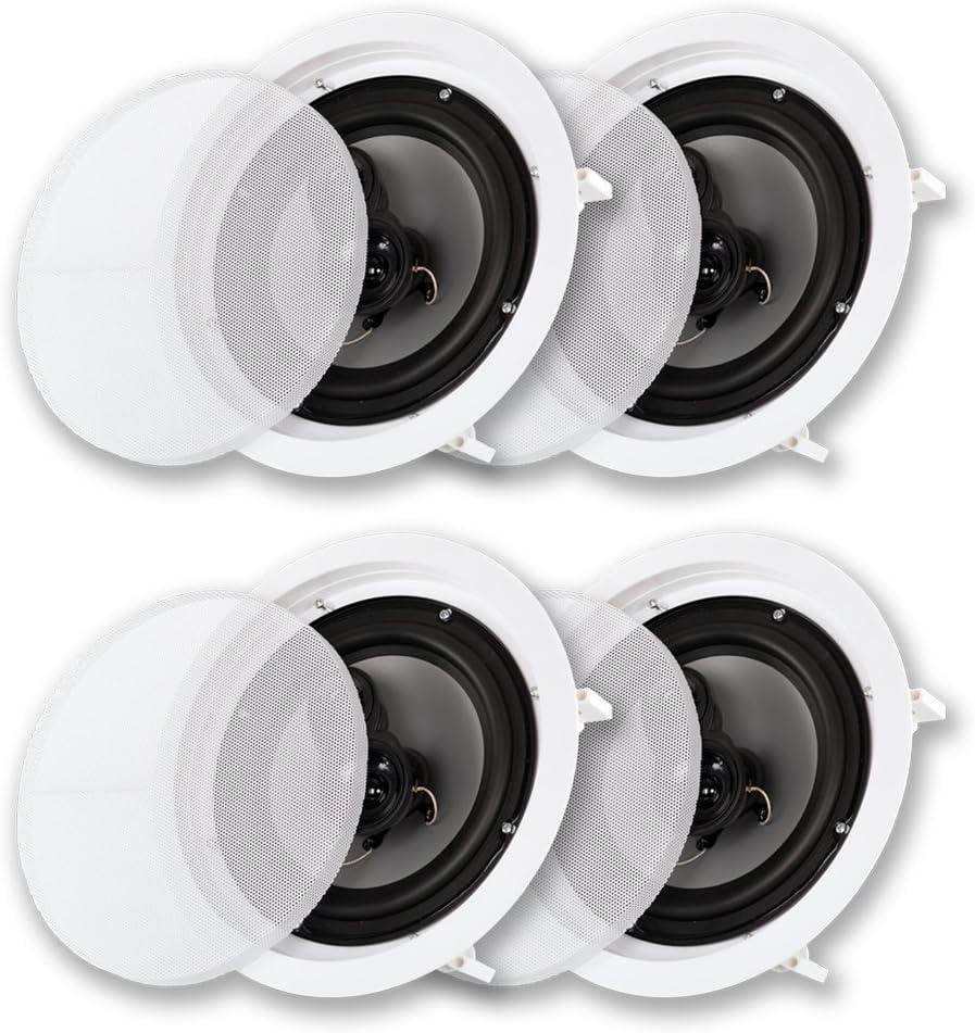"""Acoustic Audio CS-IC83 in Ceiling 8"""" Speaker 2 Pair Pack 3 Way Home Theater 1400 Watt"""