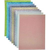 A4 Size Faux Leather Glitter Canvas Sheets, Mix Color-2(9 pcs A4 Size Sheet), A4(20X30cm)(8X12 inch)