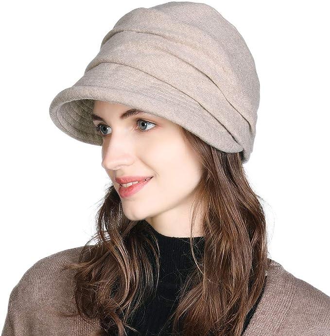 FANCET - Gorro de Lana para Mujer con Visera AA00757_Beige M ...