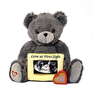 Amazon Com My Baby S Heartbeat Bear Grey Gender Reveal Bear