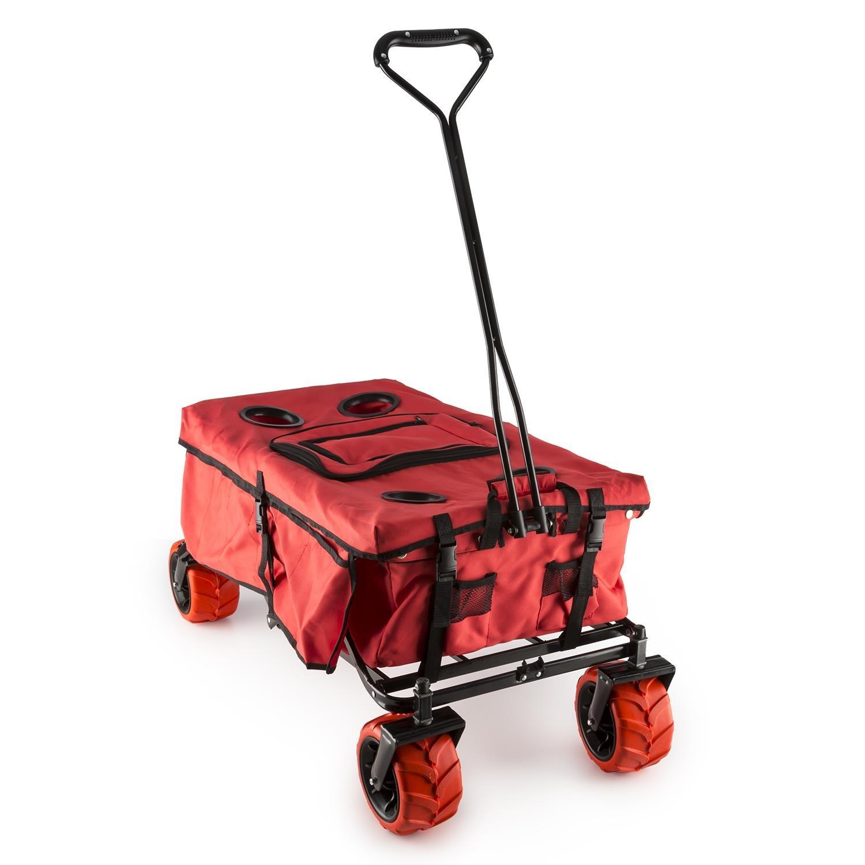 Waldbeck Red Devil Bollerwagen Handwagen Transport-Wagen (68kg Ladung, Transporttasche, faltbar, Kühltasche, witterungsbeständig) rot