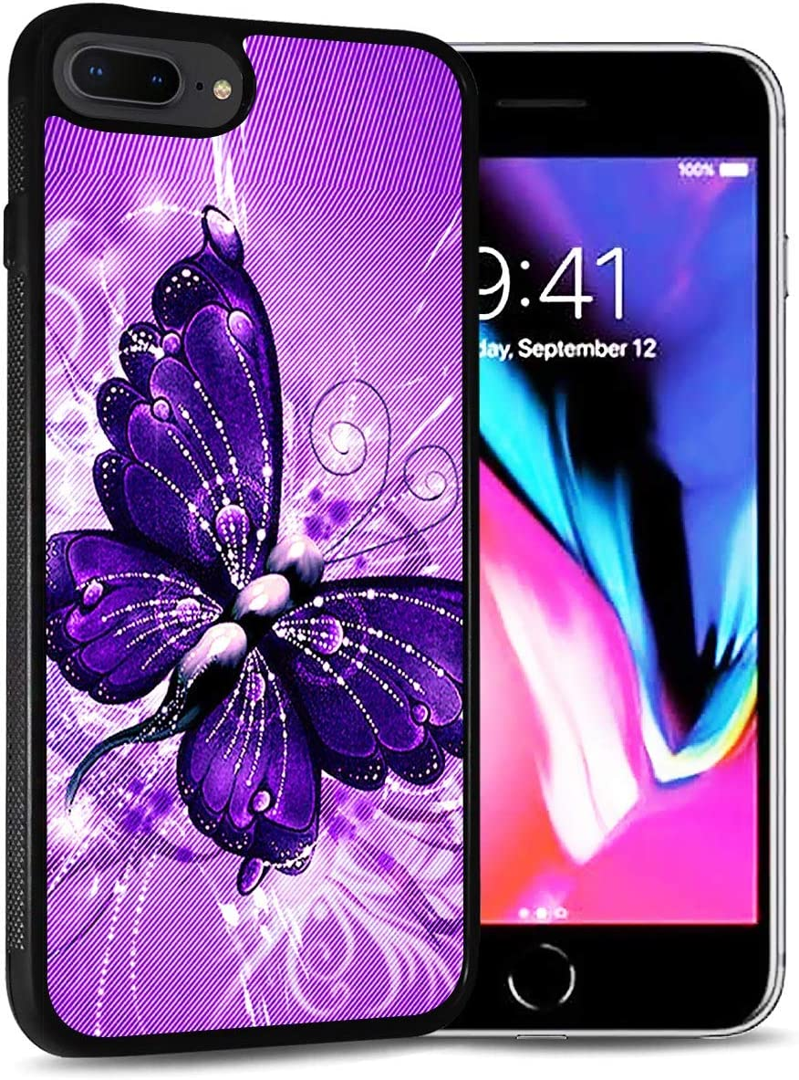 for iPhone 6, iPhone 6S, Durable Protective Soft Back Case Phone Cover, HOT12122 Purple Butterfly