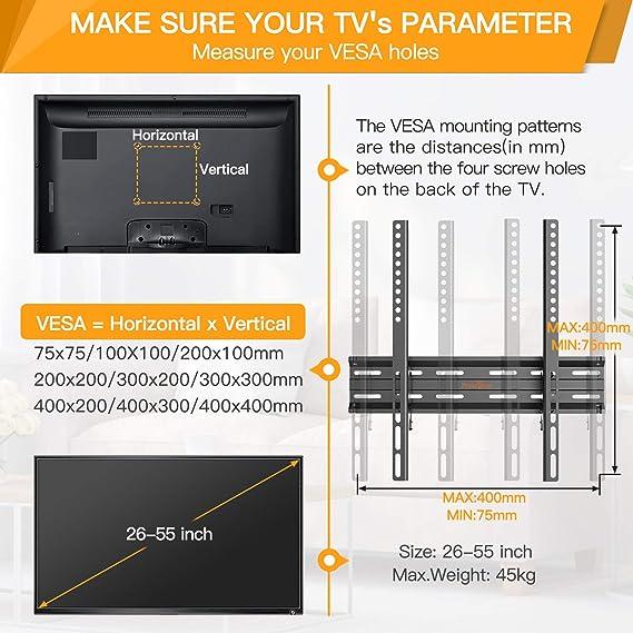 Soporte de TV Perlegear - Soporte de TV en Pared inclinable para televisores de 26 a 55 Pulgadas con Carga de 45 kg, VESA Máx. de 400 x 400 mm: Amazon.es: Electrónica
