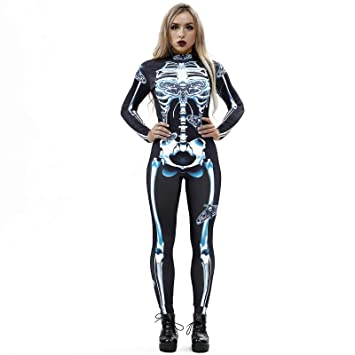 women halloween costumes ghost skeleton jumpsuit party tight slim fit cosplay costume black b