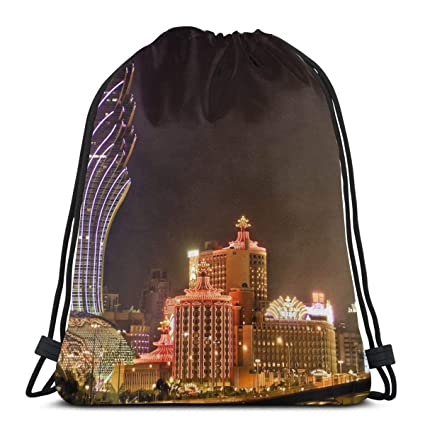 6649c889ad5a Amazon.com: KIENGG Macau Travel City Nightscape Unisex Drawstring ...