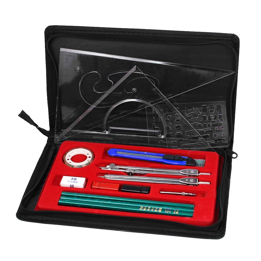 Clobeau Hight Quality Study 16-piece Compass and Geometry Kit Drawing Drafting Tools Set for Students with A Zipper Bag