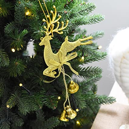 Amazon Com Gold Reindeer Bell Ornament For Christmas