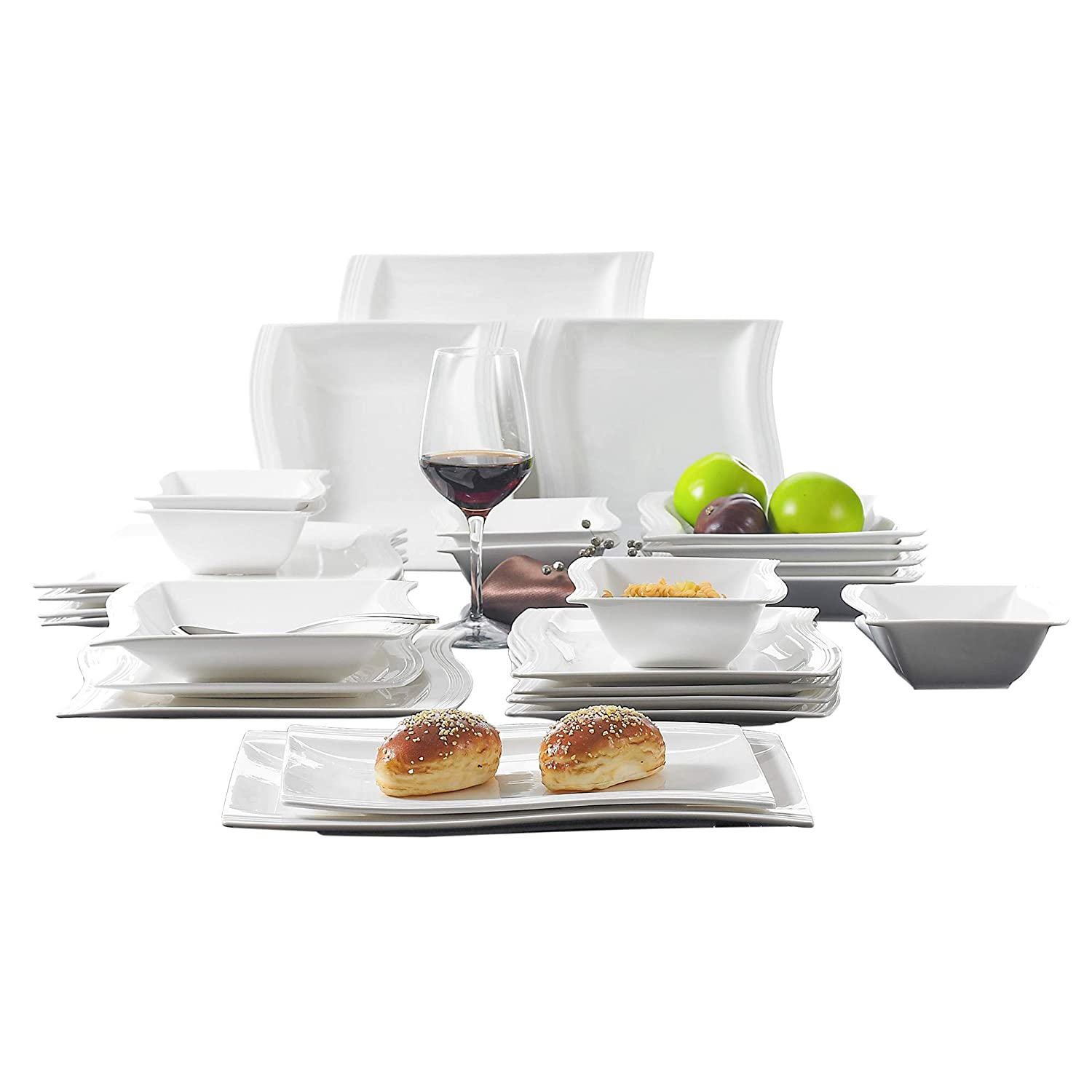Malacasa, 26-Piece Porcelain Dinnerware Set Ivory White China Ceramic Dinner Set with Cups Saucers Dessert Plates Soup Plates and Dinner Plates Dinnerware Set Service for 6