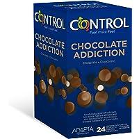 Control Chocolate - Caja de condones con aroma y sabor a chocolate, lubricados de color marrón, perfecta adaptabilidad…