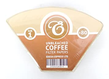 80 Size 1 Coffee Filter Paper Cones Unbleached By Edesia Espress