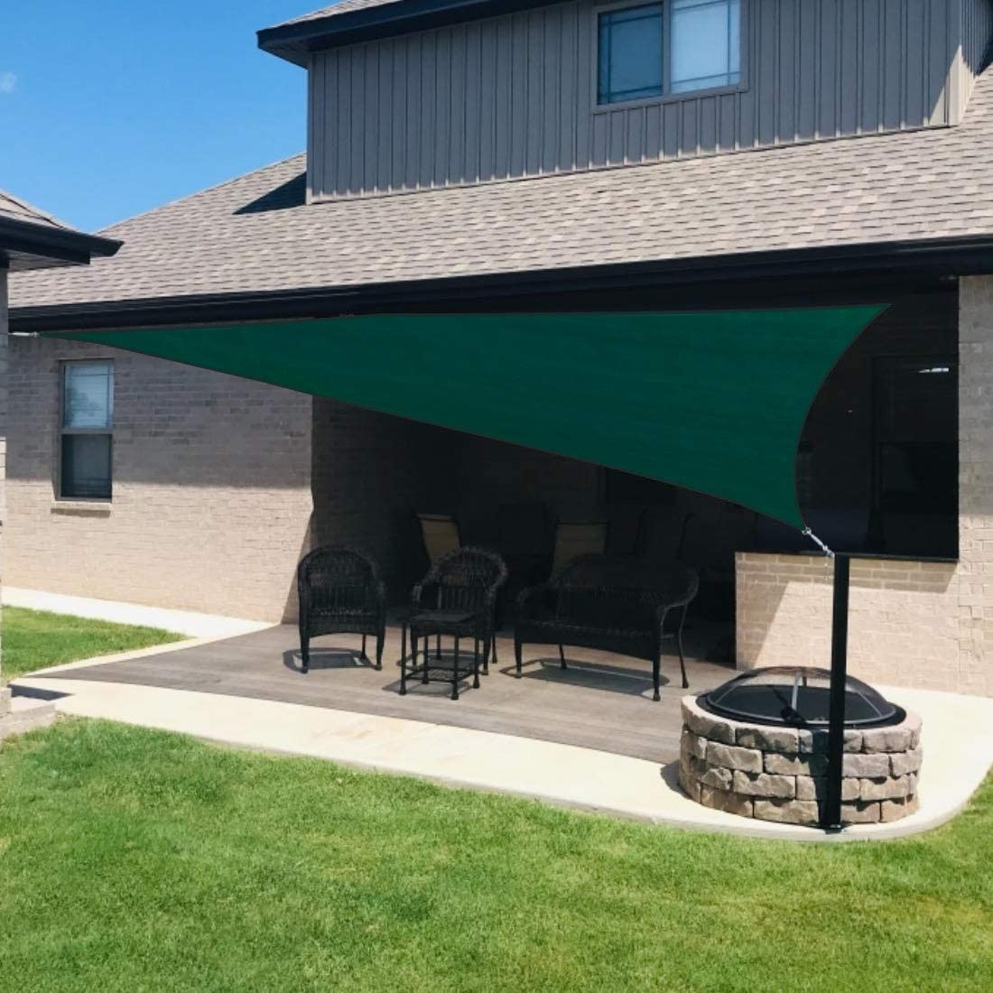 Quictent 26 X 20 ft 185G HDPE Rectangle Sun Shade Sail Canopy 98 UV Block Outdoor Patio Garden with Hardware Kit Green