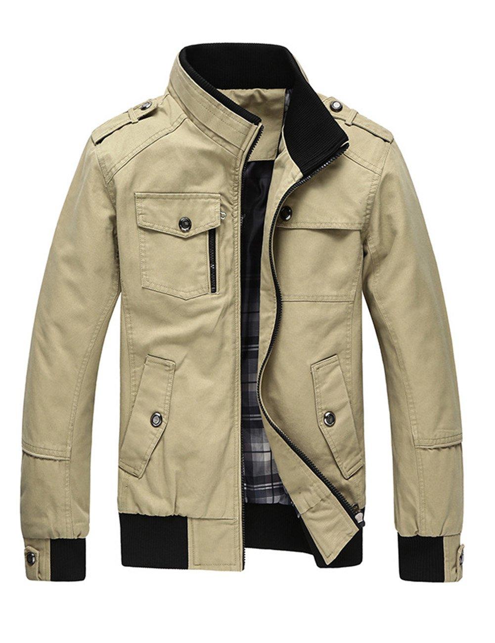 LanLan Autumn Men's Cotton Windbreake Jacket Fashion Coat with Zip Closure Khaki XL