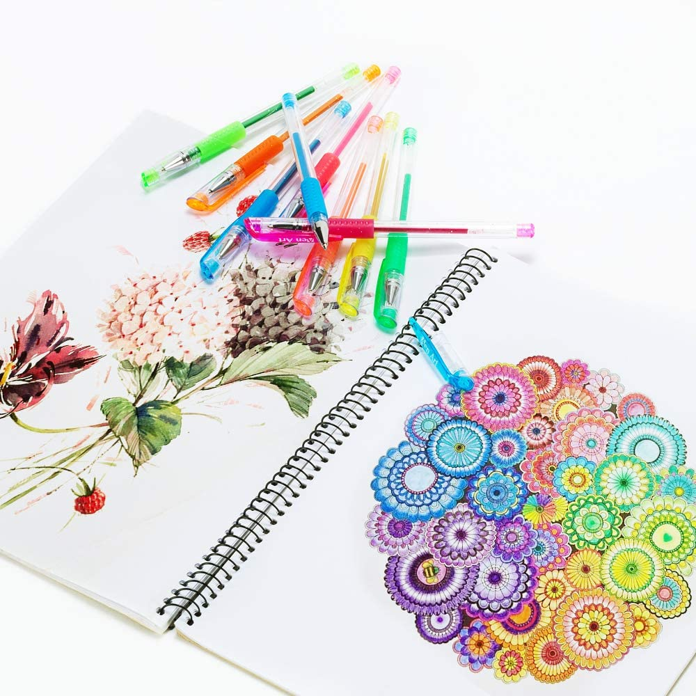 Gel Pens, 30 Colors Gel Marker Set Colored Pen with 40% More Ink for Adult Coloring Books, Drawing, Doodling Crafts Scrapbooks Bullet Journaling : Office Products