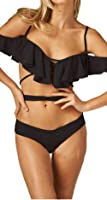 Everkaki Womens Summer Beach Sexy Ruffles Swimsuit Falbala Bandeau 2 Piece Bikini Set Swimwear