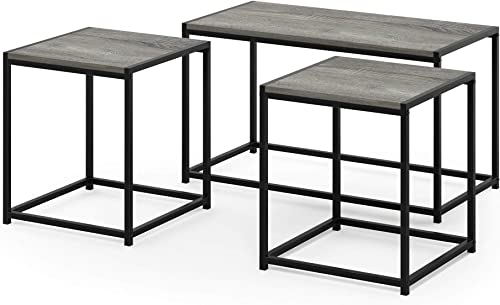 FURINNO Camus Modern Living Room Table Set, French Oak Grey