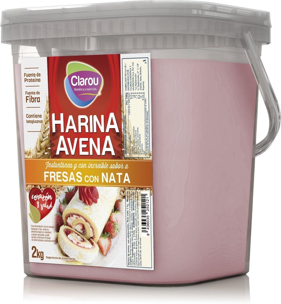Harina de avena - 2Kg - Sabor Fresa con nata: Amazon.es ...