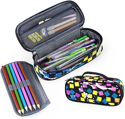 Estuche grande para lápices Fuyao, varios compartimentos, papelería escolar y oficina, estuche organizador para estudiantes., color Colorful Black: Amazon.es: Oficina y papelería