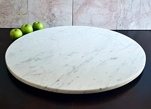 Large Stone Lazy Susan Turntable Rotating Tray Dining Table Centerpiece Serving Plate 30 Inch Handmade