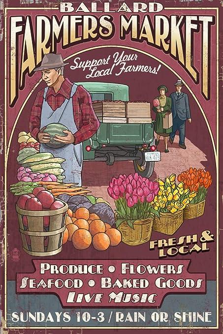 At Wednesday Farmers Market I Signed >> Amazon Com Seattle Washington Ballard Farmers Market Vintage