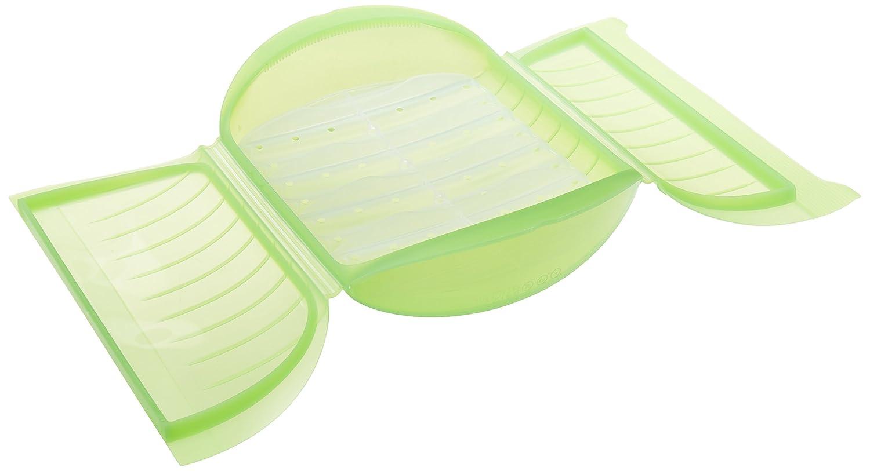 Lékué Estuche de Vapor c/Bandeja para el microondas, Color Verde con una Capacidad de 1400 ml (3-4 Personas)