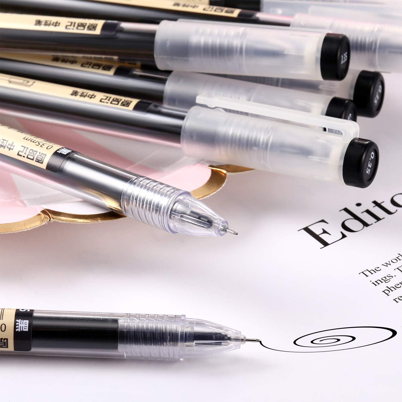 per ufficio penne a sfera con inchiostro gel nero scuola ad asciugatura rapida 0,35 mm Auhota cancelleria 12 pezzi.